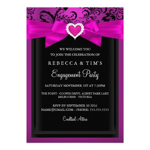 Pink Romantic Heart Engagement Party Invitation
