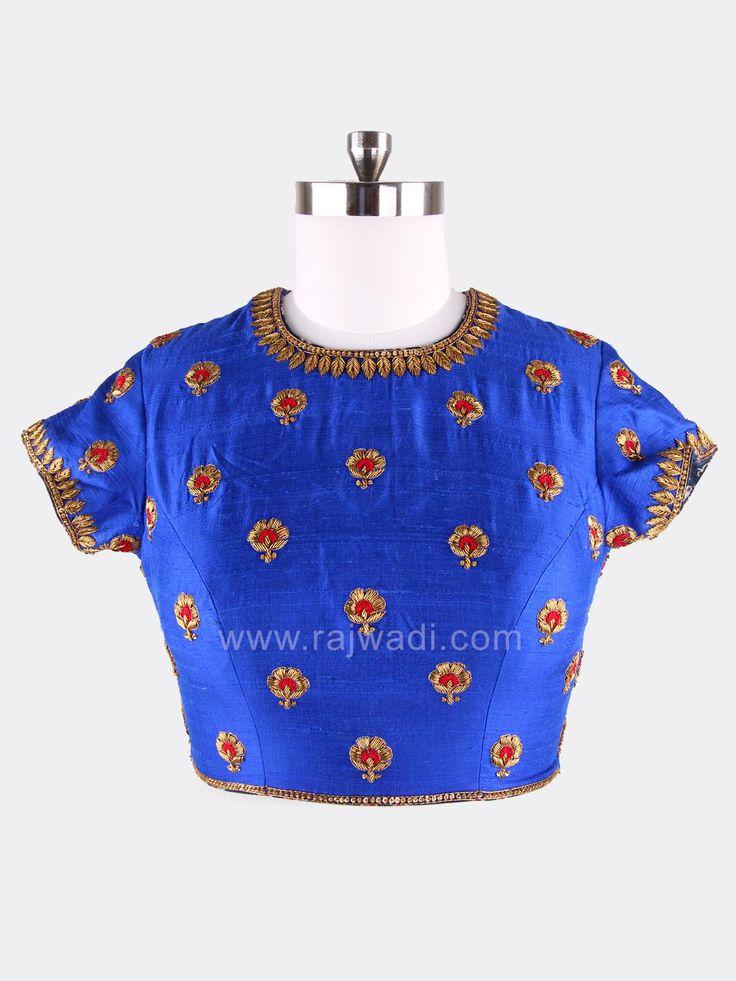 Embroidered Royal Blue Saree Blouse #rajwadi #designercholionline #Indianblouses #Readycholiforsaree #Readymadeblouseonline