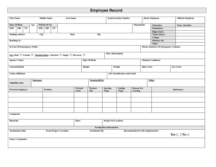 19 best Employee Forms images on Pinterest | Human resources, Resume ...