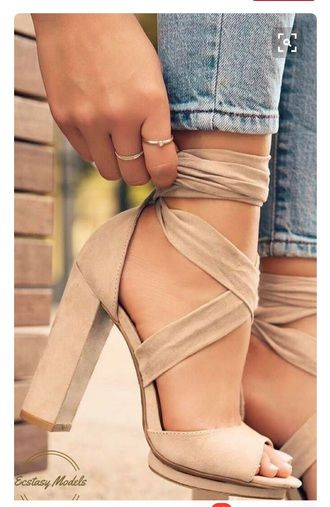 Beautiful Perfect Summer Spring Fashion Shoe Trend Beige Nude Suede Wrap Round High Heeled Shoes