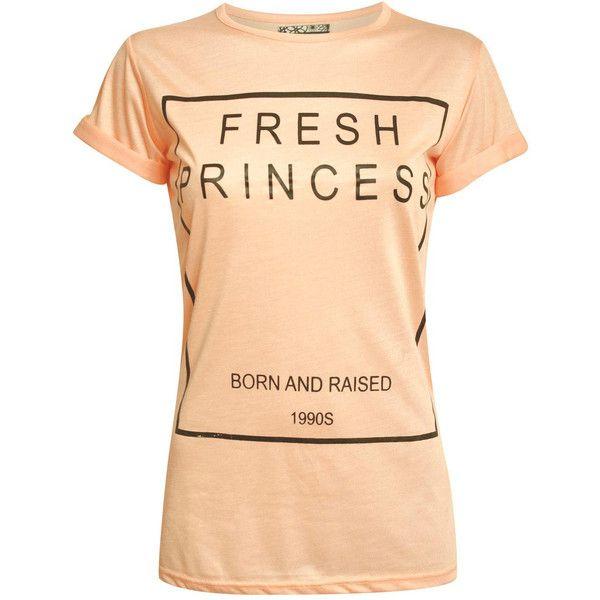 Pilot Fresh Princess Slogan T-Shirt ($7.36) ❤ liked on Polyvore featuring tops, t-shirts, cap sleeve tops, pattern tees, slogan tees, beige t shirt and crew t shirts