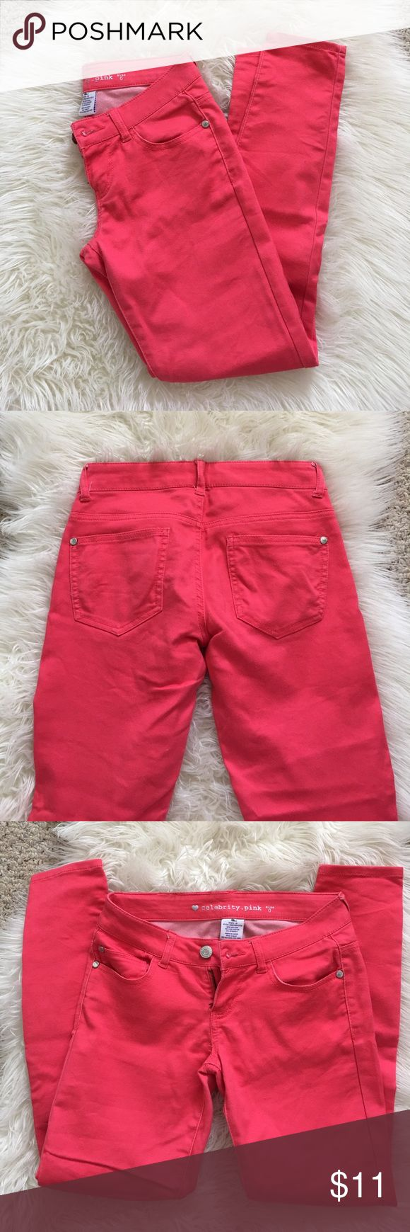 Pink Jeans Cute bright pink jeans! Worn so some wear shows but in great condition overall! Great with flats or boots. Celebrity Pink Jeans Skinny