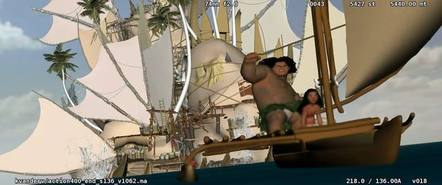 """The rough layout work I did for the """"Kakamora"""" sequence on Moana Animation and layout done by me."""