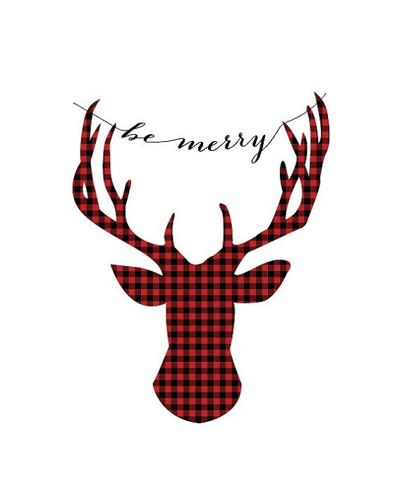 """Its the most wonderful time of the year!  """"be merry"""" deer head silhouette in a red and black buffalo check plaid Christmas print"""