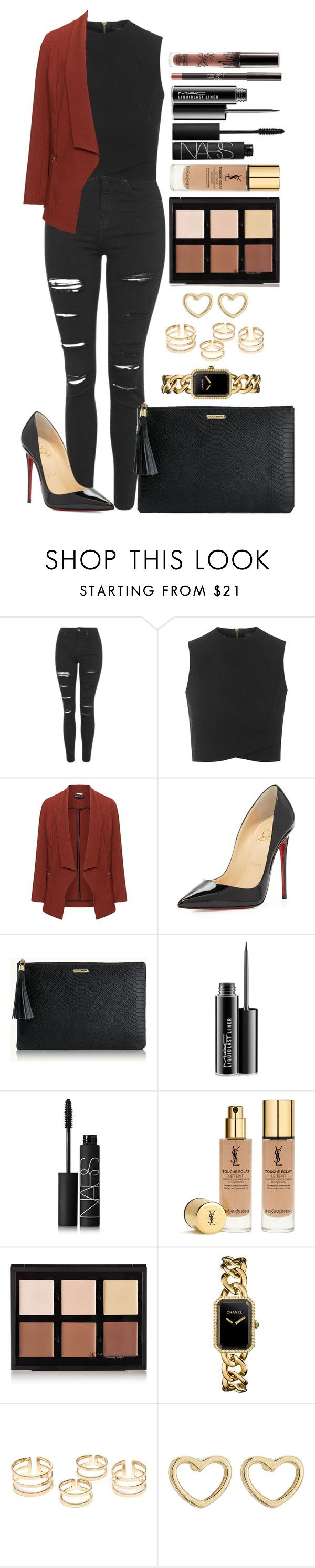 """Untitled #1338"" by fabianarveloc on Polyvore featuring Topshop, Manon Baptiste, Christian Louboutin, GiGi New York, MAC Cosmetics, NARS Cosmetics, Yves Saint Laurent, Anastasia Beverly Hills, Chanel and Marc by Marc Jacobs"
