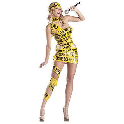 Crime scene afzetlint kostuum voor dames. Sexy Crime Scene kostuum bestaande uit een huidkleurig jurkje omwikkeld met geel Crime Scene markeerlint.