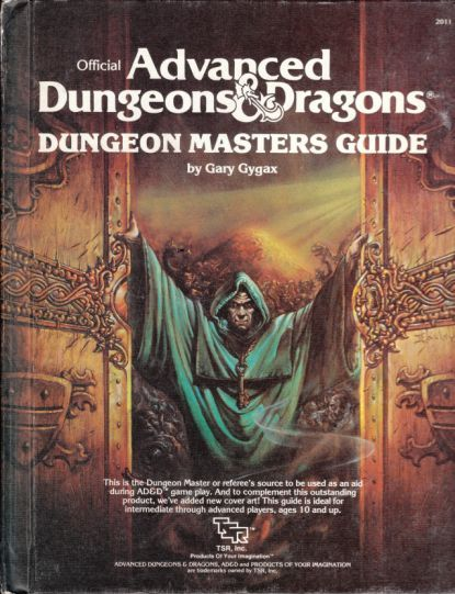 An early D Dungeon Master's Guide by Gary Gygax, before Wizards of the Coast. A geek's first Bible