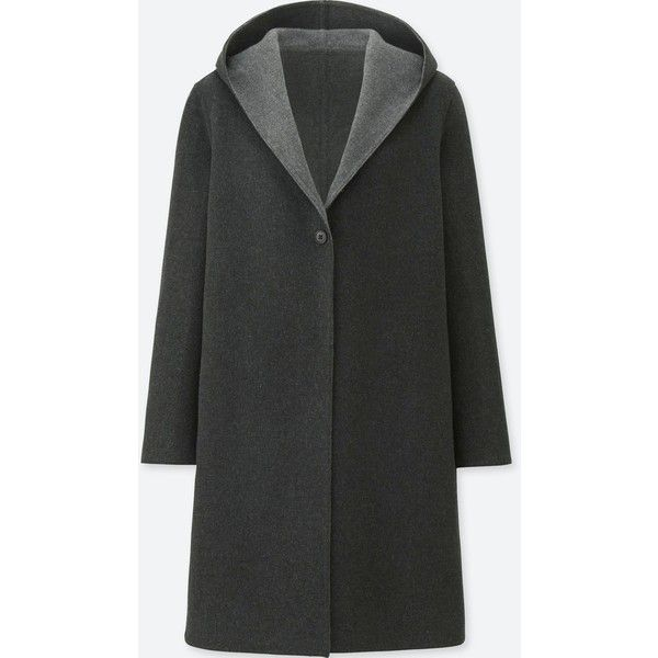 UNIQLO Women's Double-face Hooded Coat ($20) ❤ liked on Polyvore featuring outerwear, coats, dark gray, hooded coat, uniqlo, wool blend coat, texture coat and uniqlo coats