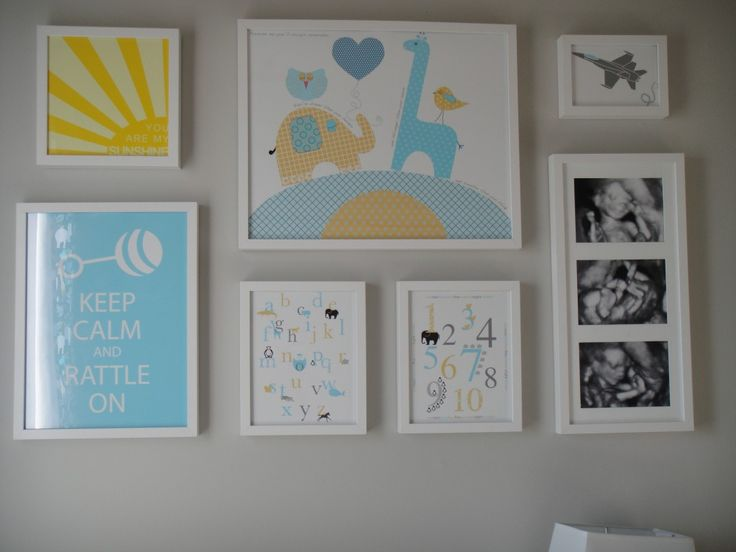 gallery wall in baby boy nursery