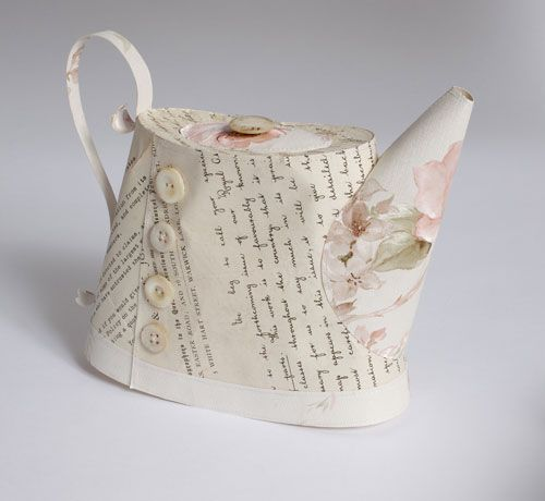 Jennifer Collier | Floral paper and book pages turned into teapot