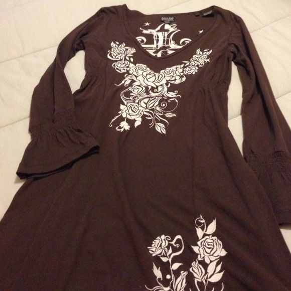 """Brown Rock & Roll Cowgirl Dress Embroidery on front chest and front at bottom in back is large cross! Very cute dress! It is a small but this dress is more like a medium!  34"""" Long Wear with some cowboy boots to that country concert!!!! Dresses"""