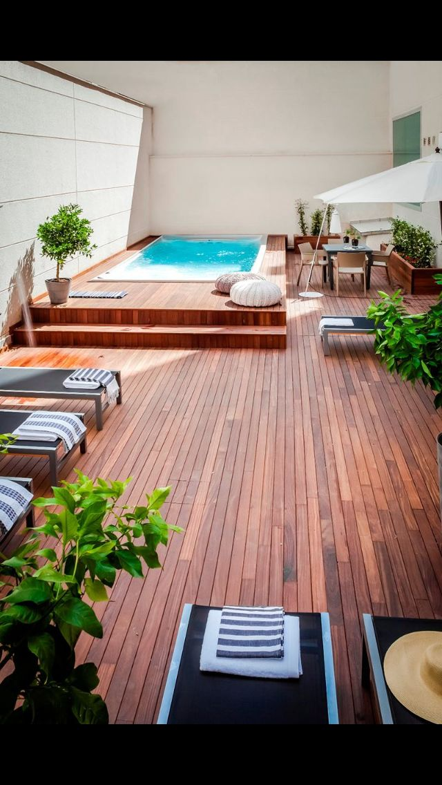 rised pool, wooden patio