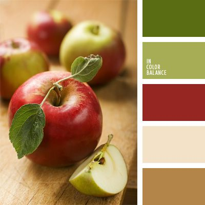The color palette number 75 green and red, brick, brick red brick color, selection color, light brown color combination for interior decoration color red apples, green apples,