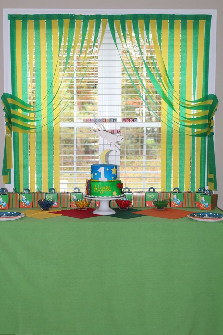 Goodnight Moon decor - curtains were made out of crepe paper.
