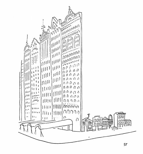 "Saul Steinberg, Drawing Accompanying A.J. Liebling, ""Chicago"", Part III, January, 26, 1952"