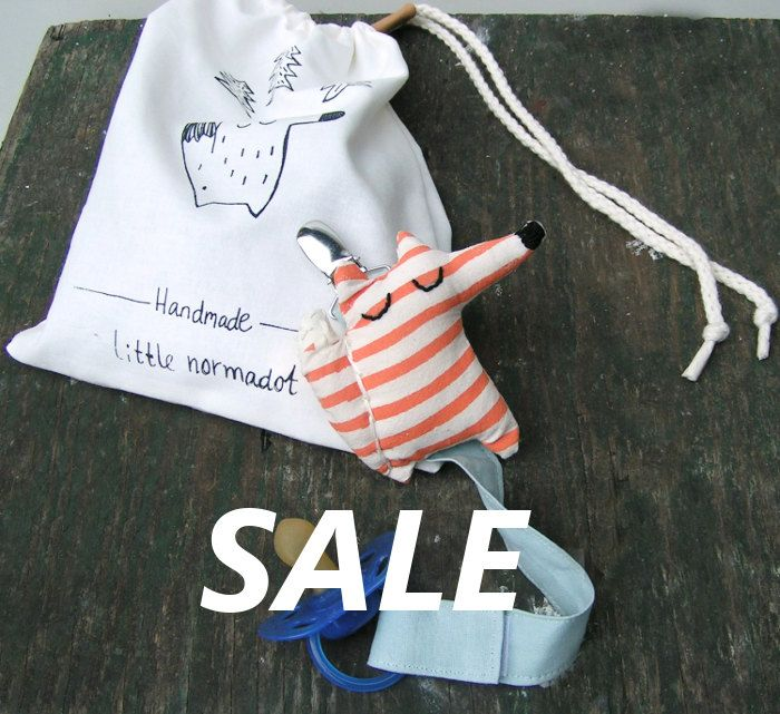 Hand screen printed pacifier holder Fox now  on sale www.normadot.com www.normadot.etsy.com