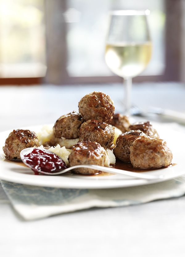 Scandinavian meatballs with mash and lingonberry sauce: We all love meatballs and pasta - but have you ever tried them with mash, Scandinavian style? Lingonberries are a European relation of the cranberry - you can buy lingonberry sauce from Ikea, or just use cranberry sauce instead.