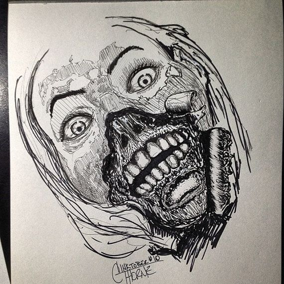 Zombie Face Line Drawing : Original drawing woman with peeling face zombie by