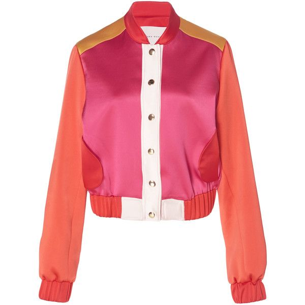 Sandra Mansour Portia Satin Bomber ($1,450) ❤ liked on Polyvore featuring outerwear, jackets, multi, colorblock jackets, bomber style jacket, pink bomber jacket, satin bomber jacket and color block bomber jacket