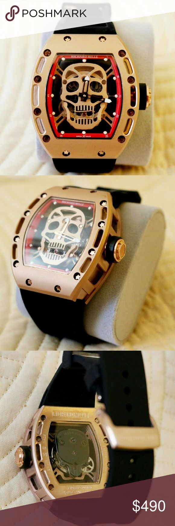 Richard Mille Skull Automatic watch Gold titanium case with black rubber band  Used watch without box Richard Mille  Accessories Watches