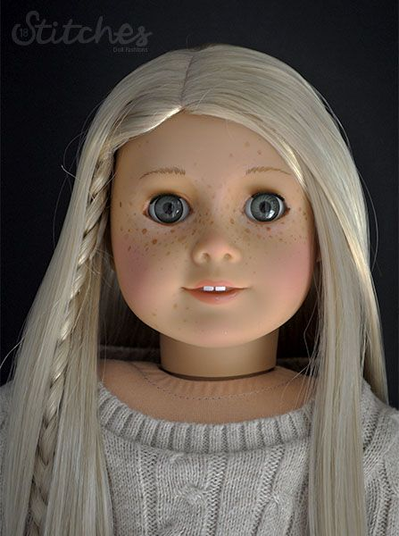18 Stitches: Custom American Girl Doll face paint with acrylics. (HEAD - Isabelle. EYES - Ruthie. WIG - Julie)