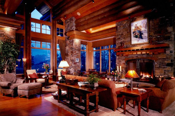 Great Room: Stones Fireplaces, Rustic Fireplaces Living Rooms,  Eating House, Window,  Eateri, Logs Cabins, Great Rooms, Eating Houses, Mountain Dreams Home