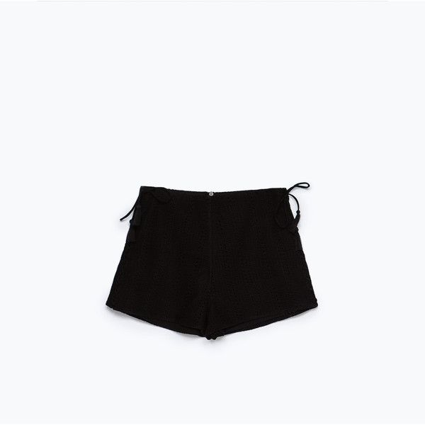 Zara Crochet Shorts ($13) ❤ liked on Polyvore featuring shorts, black, crochet shorts, macrame shorts and zara shorts