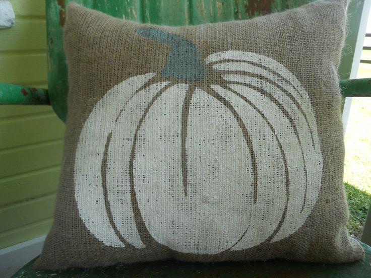 FALL HALLOWEEN White and Gray PUMPKIN Fun Painted Burlap Throw Accent Pillow Home Decor by TakeFlyteFarm on Etsy