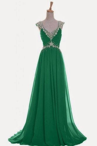 Emma Y Luxury V-neck Prom Gowns Party Dresses Chiffon Long 2014 | Naughty Gal Shoes