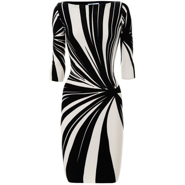 Blumarine Black White Graphic Dress ($1,005) ❤ liked on Polyvore featuring dresses, robes, black white dress, blumarine, graphic print dress, blumarine dress and white and black dress