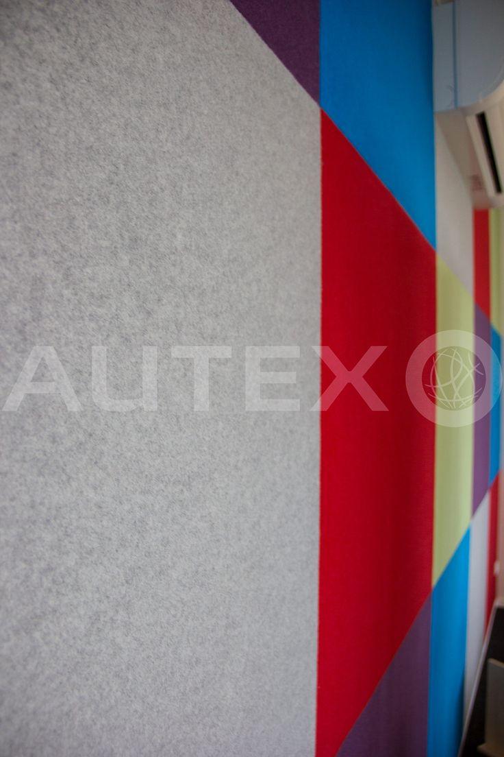 Autex Interior Acoustics - Composition® Peel'n'Stick - Natural Steps Childcare, Auckland, NZ - Colours: Phantom, Blazing Red, Electric Blue, Koala & Civic - Acoustics in Education