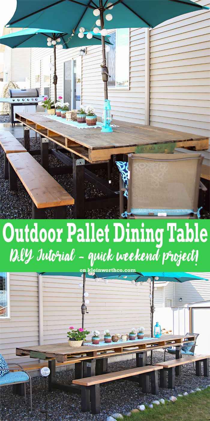 If you love pallet furniture, then you'll want to check out my DIY Pallet Outdoor Dining Table. This is a simple weekend project using an oversized pallet. via @KleinworthCo