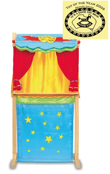 encourage imaginative play with puppets and stands