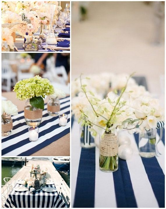 Striped, Navy Blue,  and White, Nautical, Kate Spade, SHIPS ASAP Tablecloth, Weddings, Bridal Showers