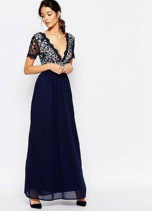 Kup mój przedmiot na #vintedpl http://www.vinted.pl/damska-odziez/dlugie-sukienki/17231553-sukienka-maxi-z-koronka-wesele-laceminidress-granatowa-dluga-suknia-wieczorowa