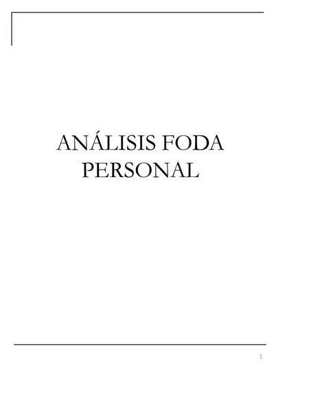 ANÁLISIS FODA PERSONAL
