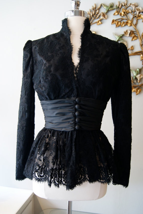 Vintage 80s Black Lace Jacket by Travilla by xtabayvintage on Etsy, $125.00