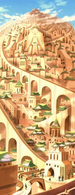 The City of Omashu and its delivery system using chutes from Avatar: the Last Airbender