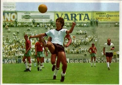 West Germany 5 Bulgaria 2 in 1970 in Leon. Gerd Muller brings the ball down before scoring on 27 mins in Group 4 at the World Cup Finals.