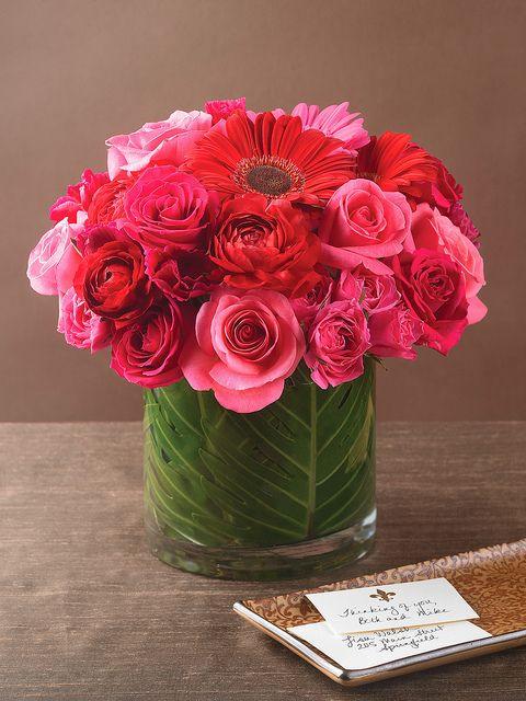 Gerbera daisies, roses and ranunculus