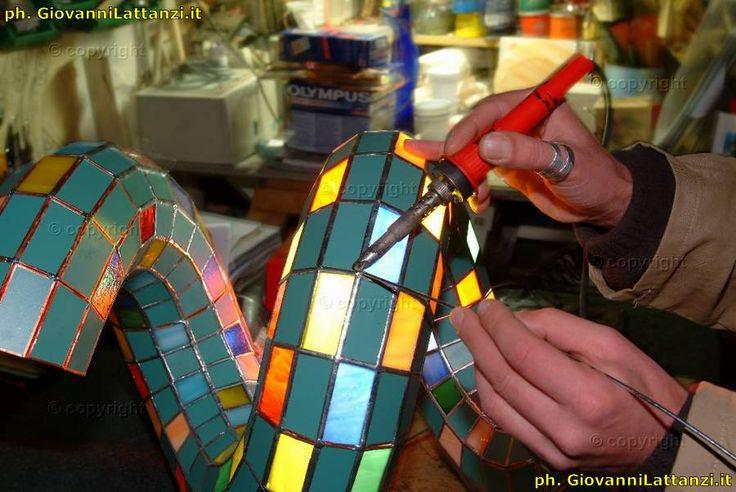 artigianato tipico, l'Aquila, vetro a mosaico e lampade