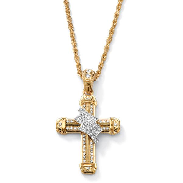 Palm Beach Jewelry PalmBeach Men's Crystal Wrapped Cross Pendant and... ($30) ❤ liked on Polyvore featuring men's fashion, men's jewelry, men's necklaces, white, mens white gold chain necklace, mens 14k gold chains, mens chains, mens gold chains and mens cross pendant necklace