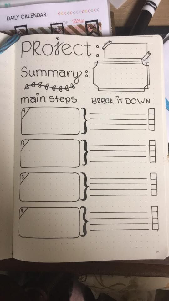 Project management in a bullet journal.