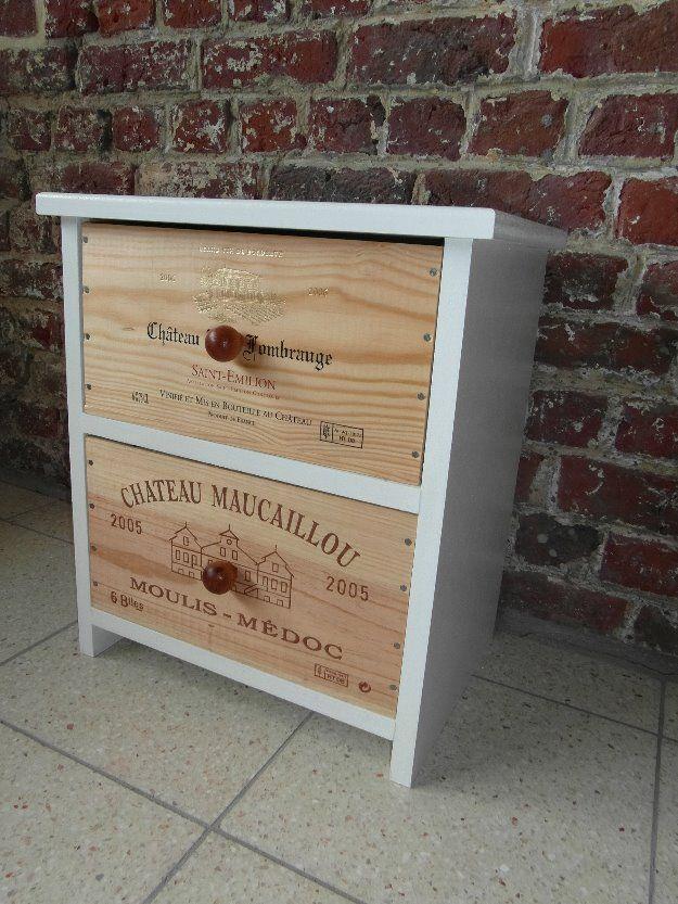 Meuble 2 tiroirs caisses de vin ESPRIT RECUP'