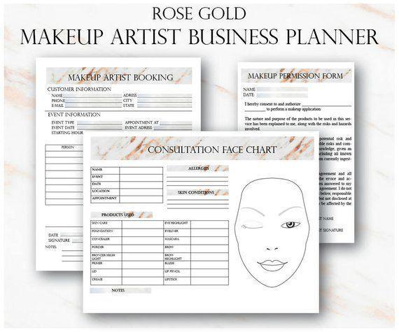 Rose Gold Maskenbildner Business Planner Bundle, freiberufliche Maskenbildner Formulare, Make-up Buchung, Hochzeit Maskenbildner Kontakt Vorlage – Pinterest Mini-Mall Viral Board