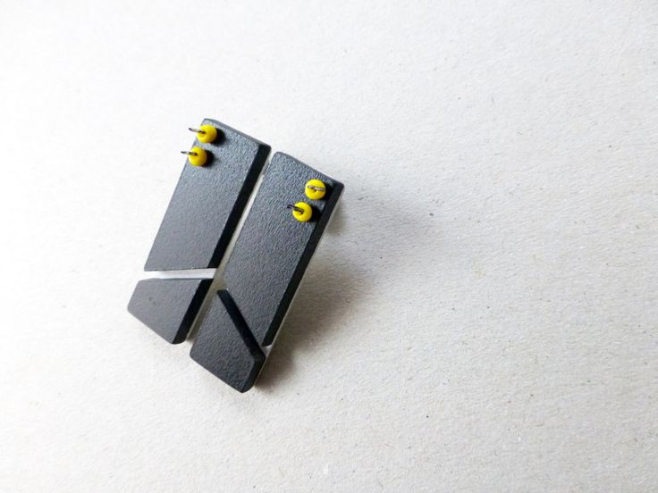 black geometric minimalist post earrings, square chevron, architectural contemporary jewelry by pergamondo on Etsy