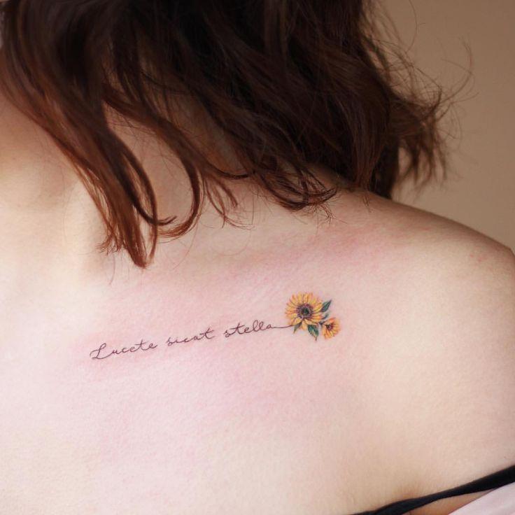 Dainty sunflower tattoo -  - #ActualTattoos in 2020 | Sunflower tattoo shoulder, Mom tattoos, Sunflower tattoo