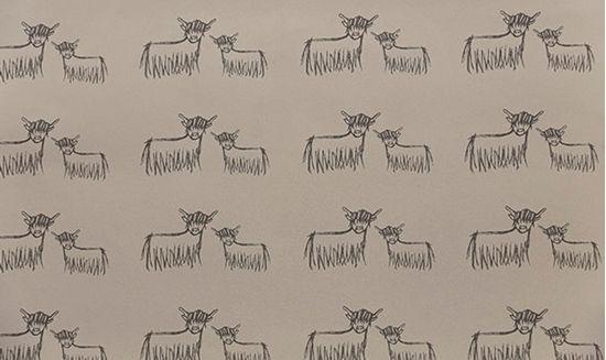 Highland Cow Wallpaper - Slate on Hessian