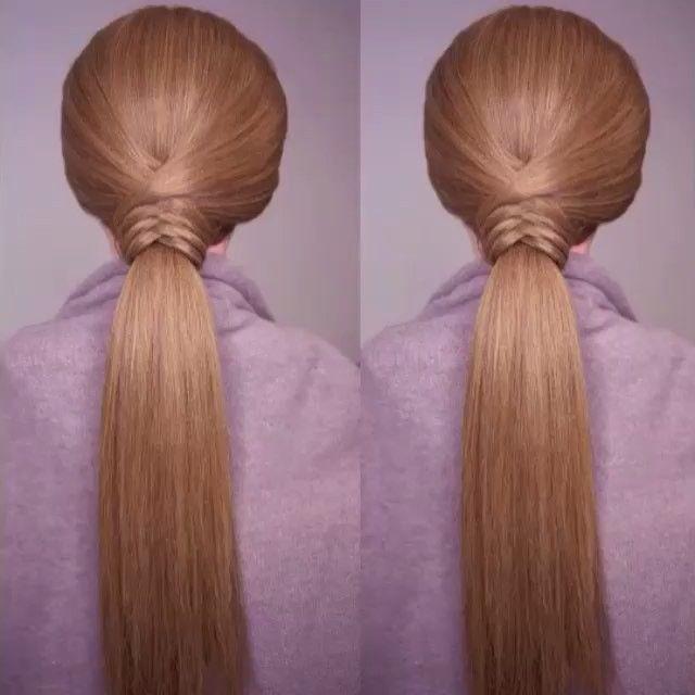 Weaving ponytail by @cinthiatruong  I love this! ⠀ @ShortHair #videos #hairstyle #peinado #braid @Fine.Hair #peinados #video #hair #hairstyles @ShortHair #penteado #braids #fashion #hairtutorial #instagram