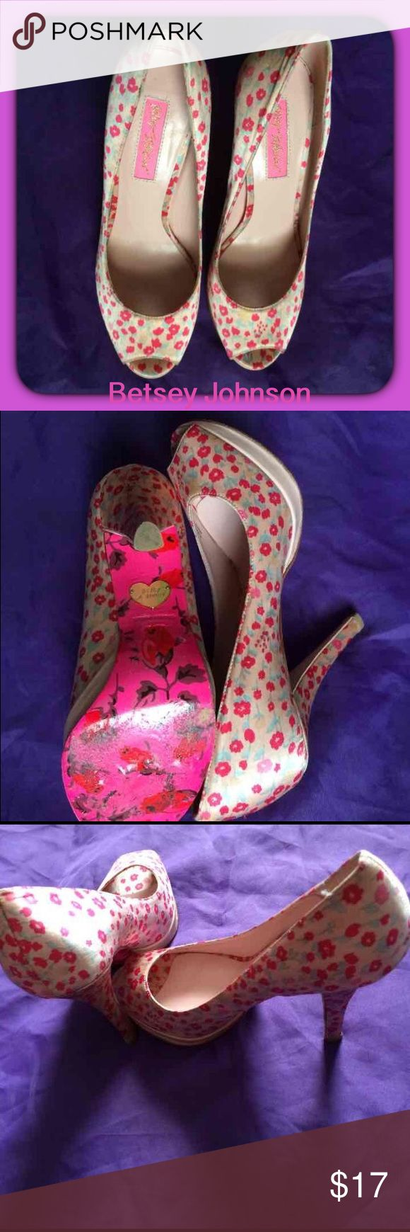 Betsey Johnson Peep Toe 4 inch Heels Re-posh these beautiful Flower Betsey Johnson Peep toe pumps. I love these shoes! I never wore them Because they are too small. I wear a 7 and these fit exactly like 6 1/2 Betsey Johnson Shoes Heels
